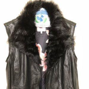 Ted Baker black leather vest with faux collar
